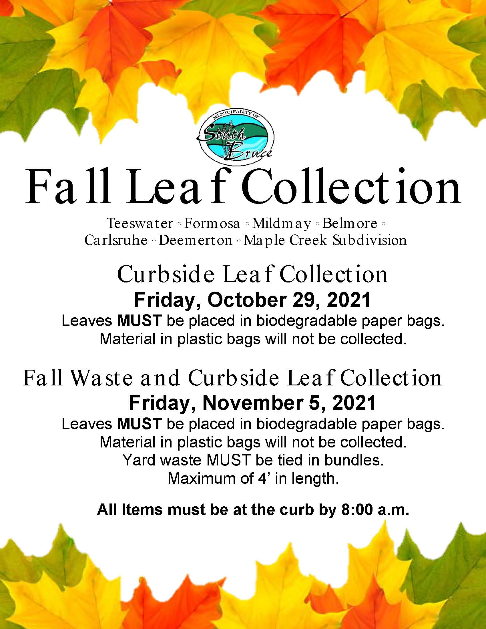 Fall Leaf Collection 2021 Schedule